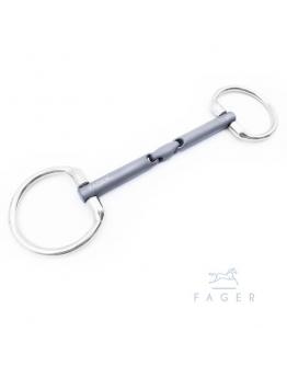 Fagers MADELEINE - Double Jointed Bridoon Fixed rings Titanium bit (Bett som varit uthyrt)