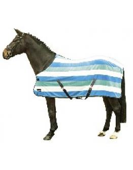 Fleecetäcke randig (Färg: Vit/Himmelsblå/Aqua, Storlek: 165)