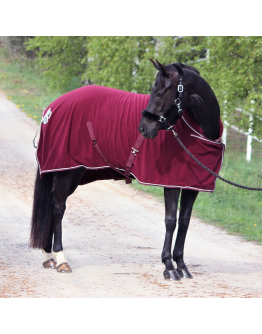 Fleecetäcke Exklusiv med krage mörkröd HKM Sport