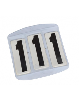 Nummerlapp Fyrkantig Kardborre 3 Siffror (Vit)
