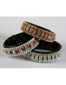 Armband läder 5 rader kristaller